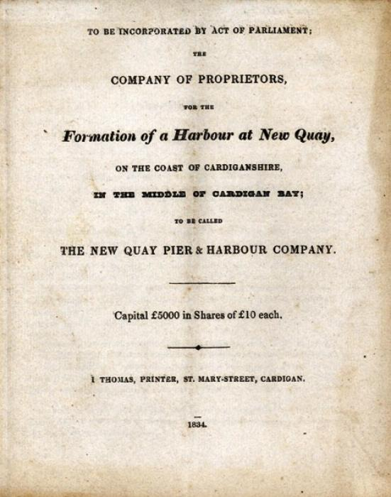 Prospectus for the New Quay Pier & Harbour Company: DB/96/2/3