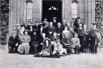 The Antiquarian Society at Hafod, 1911. The old squire, Thomas James Waddingham, is seated in the front row, 4th from left. Ref. FOH.A/06/08