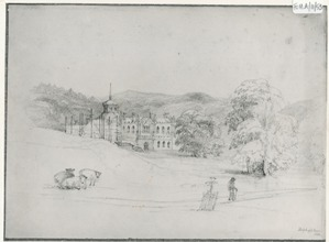 Hafod old house, sketch by Elizabeth Anne Salvin, 1848. Ref. FOH.A/11/53
