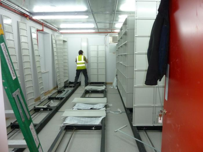 Installing mobile shelving in the strongrooms