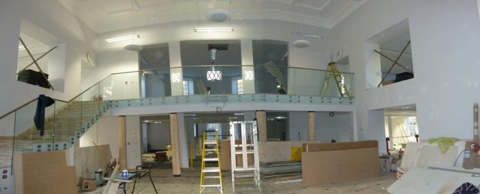 The lobby. Our searchroom will be on the first floor on the right.
